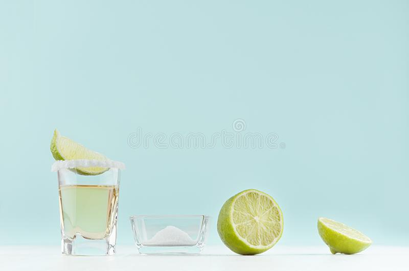 Cooking tropical summer shot drink tequila - ingredients - green lime, bowl with salt, shot glass on pastel mint background. Cooking tropical summer shot drink stock photography