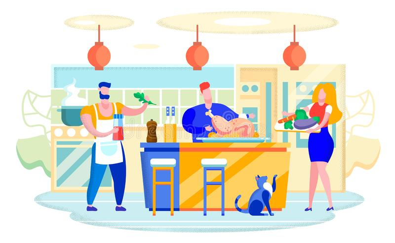 Cooking Turkey at Home Kitchen Flat Vector Concept. Cooking with Family at Home Flat Vector Concept. Man and Woman Characters, Couple Cooking Together at Kitchen vector illustration