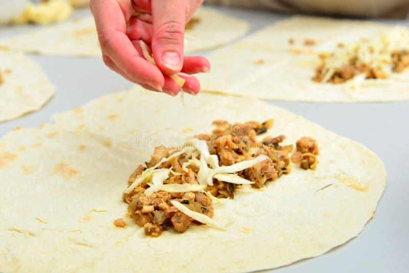 Cooking Turkish shawarma at home royalty free stock photos