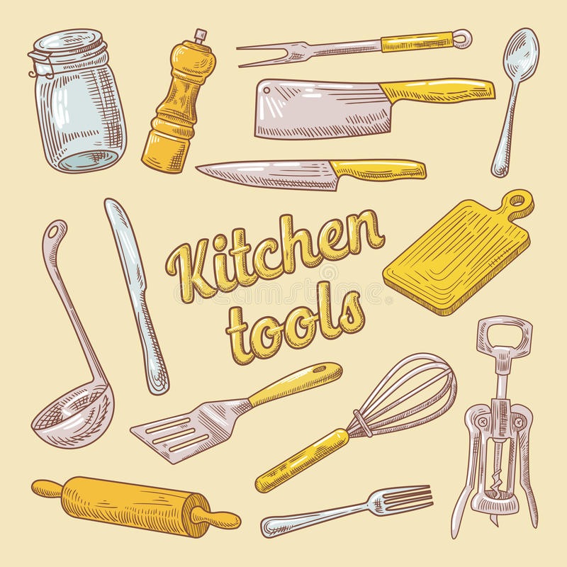 Cooking Utensils Hand Drawn Doodle. Kitchen Ware stock illustration