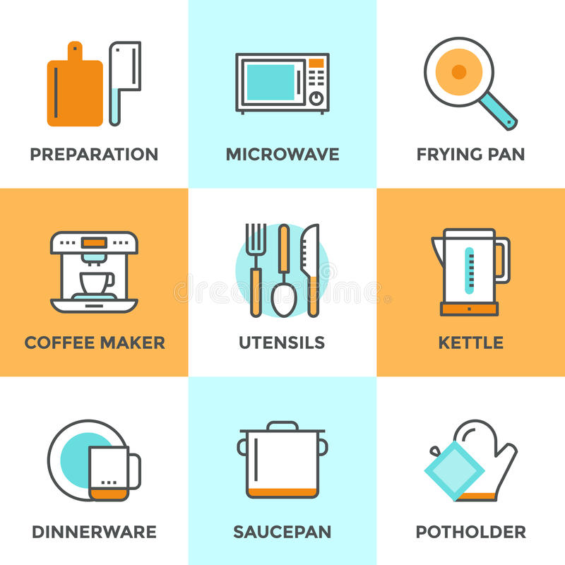 Cooking utensils line icons set. Line icons set with flat design elements of kitchen utensils and kitchenware, cooking food preparation, frying pan, microwave royalty free illustration