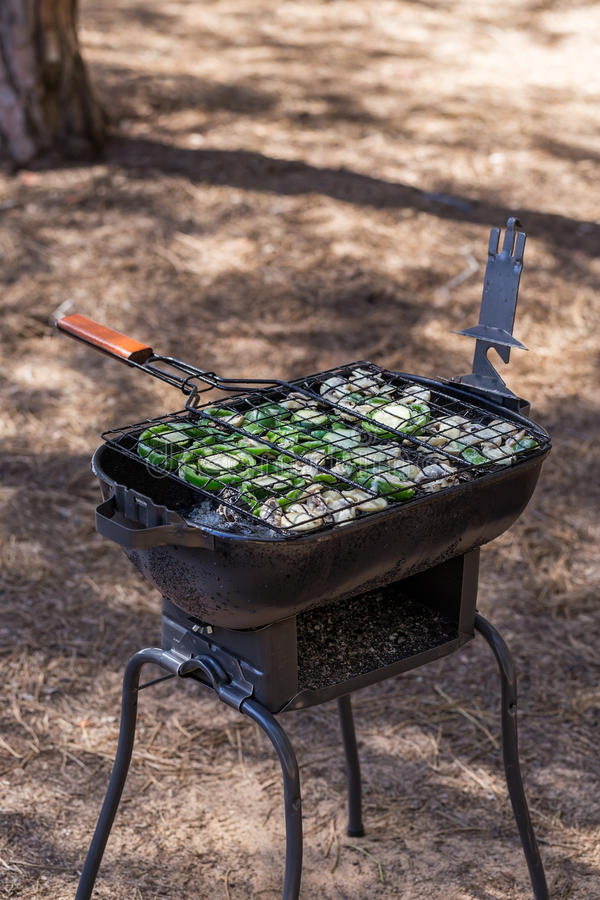 Cooking vegetables on the grill. stock image