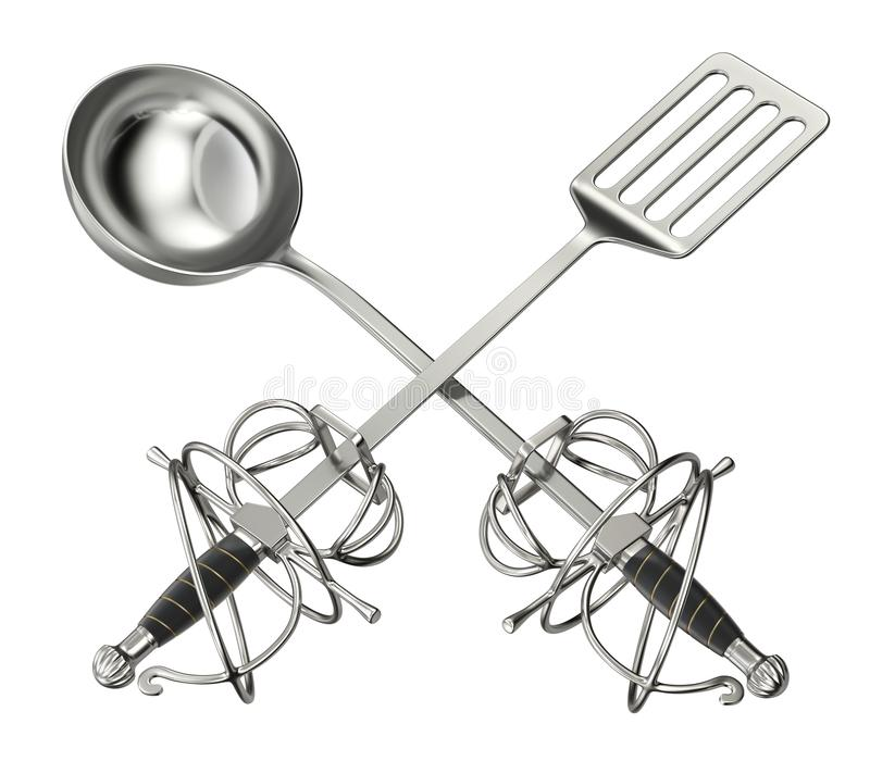 Cooking vs grilling concept. With kitchen ladle, barbecue spatula and sword hilt - 3d illustration stock illustration
