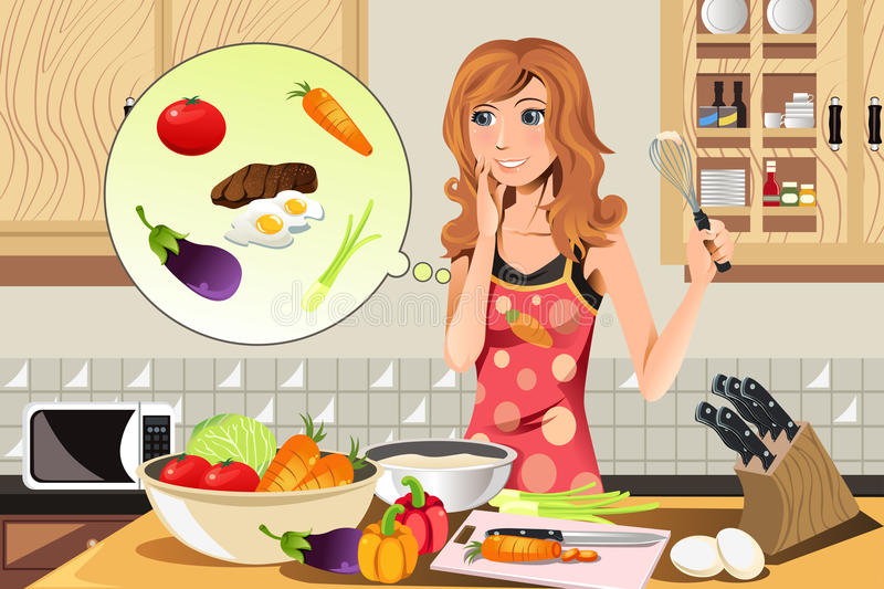 Cooking woman stock illustration