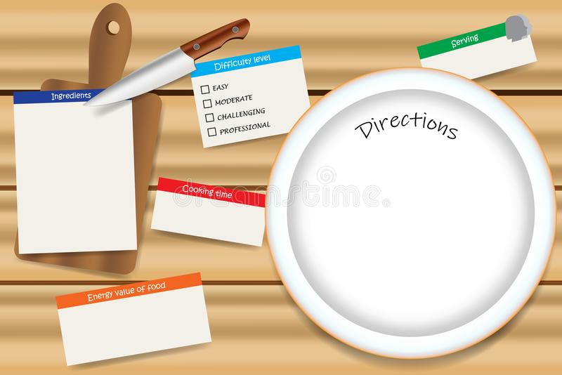 Cooking wooden board with a empty plate ready for your text. Cooking wooden board with a empty plate ready for direction text. Cooking board contains cutting stock illustration