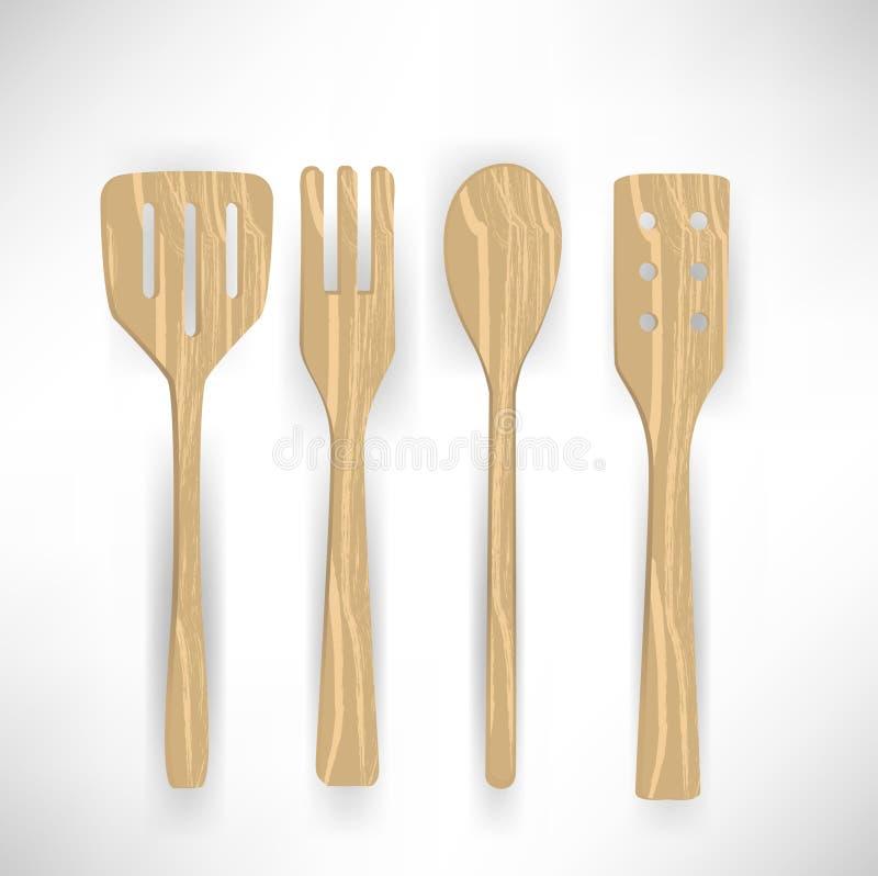 Cooking wooden utensils vector illustration