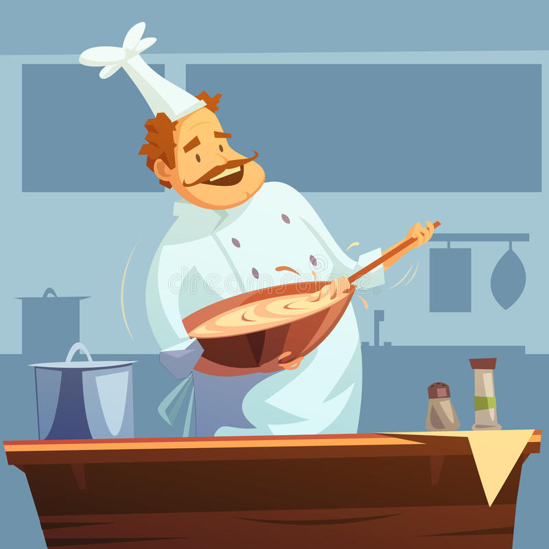 Cooking Workshop Illustration. Cooking workshop with chef mixing ingredients in a bowl cartoon vector illustration stock illustration