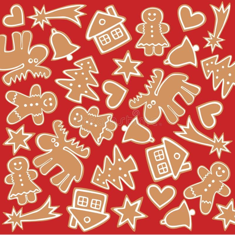 Cookise del pan de jengibre stock de ilustración