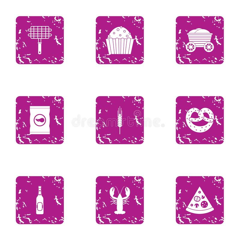 Cookout ikony ustawiać, grunge styl ilustracji