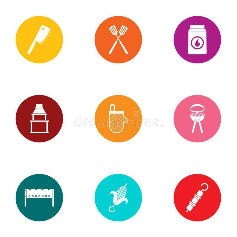Cookout ikony ustawiać, mieszkanie styl royalty ilustracja