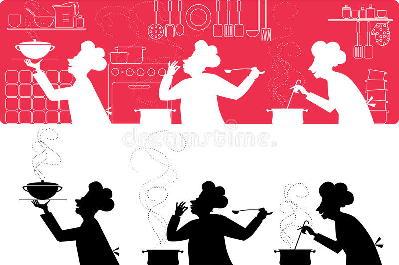 Cooks in the kitchen stock illustration