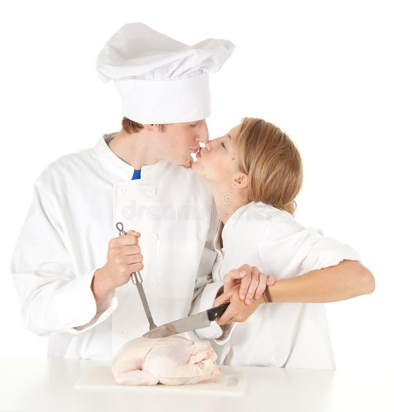 Download Cooks Team Preparing Raw Chicken Stock Photo - Image: 21270210