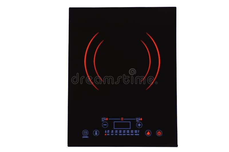 Cooktop portatif noir d'induction, d'isolement sur le blanc images stock