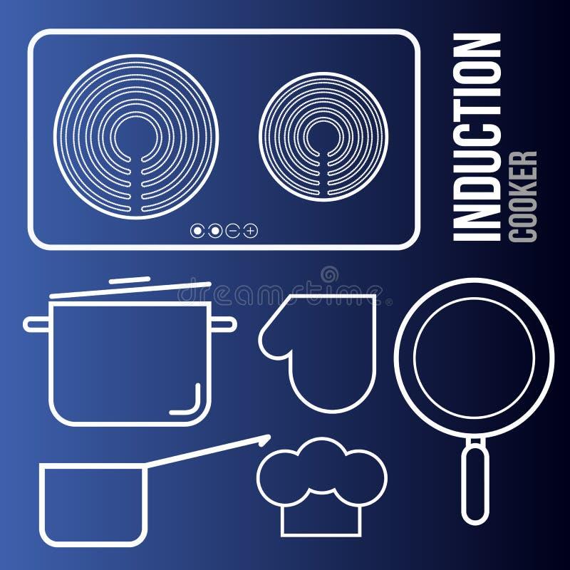 Cooktops di induzione delle icone di vettore ed utensili della cucina illustrazione di stock