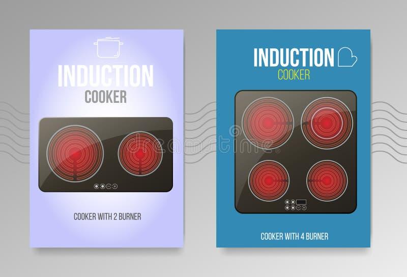 Cooktops neri di induzione di vettore o vetro-ceramico realistici illustrazione vettoriale