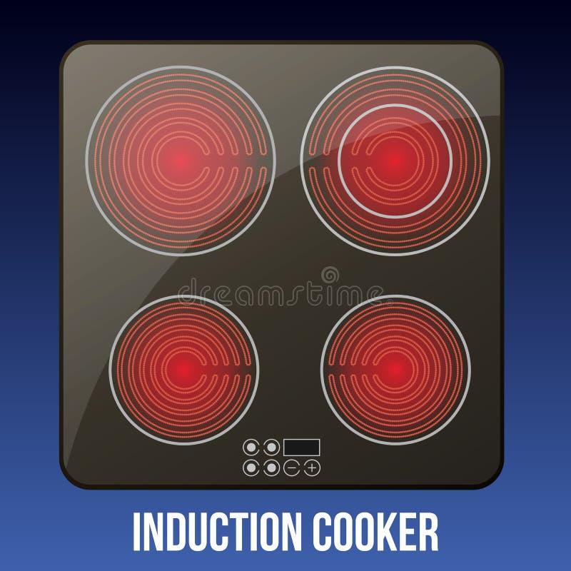 Cooktops neri di induzione di vettore o vetro-ceramico realistici royalty illustrazione gratis