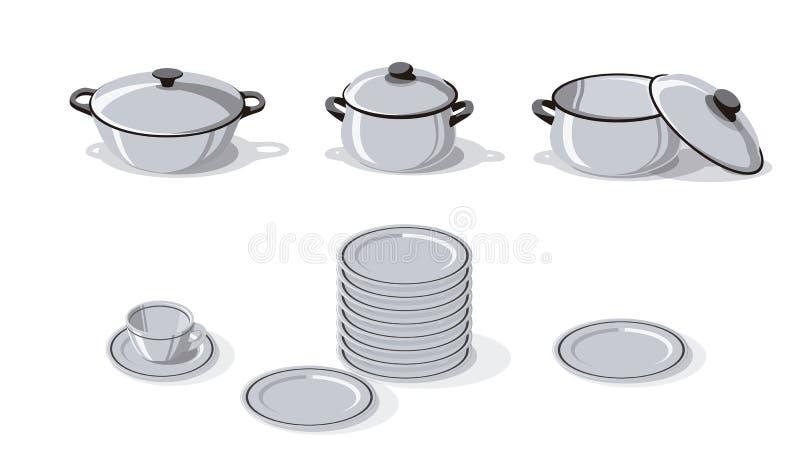 Cookware, πιάτα και απλή διανυσματική απεικόνιση φλυτζανιών διανυσματική απεικόνιση
