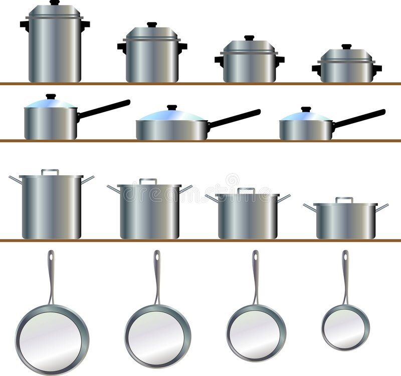 Cookware. A variety size of cookware for pot, frying pan, stew, skillet, saucepans stock illustration