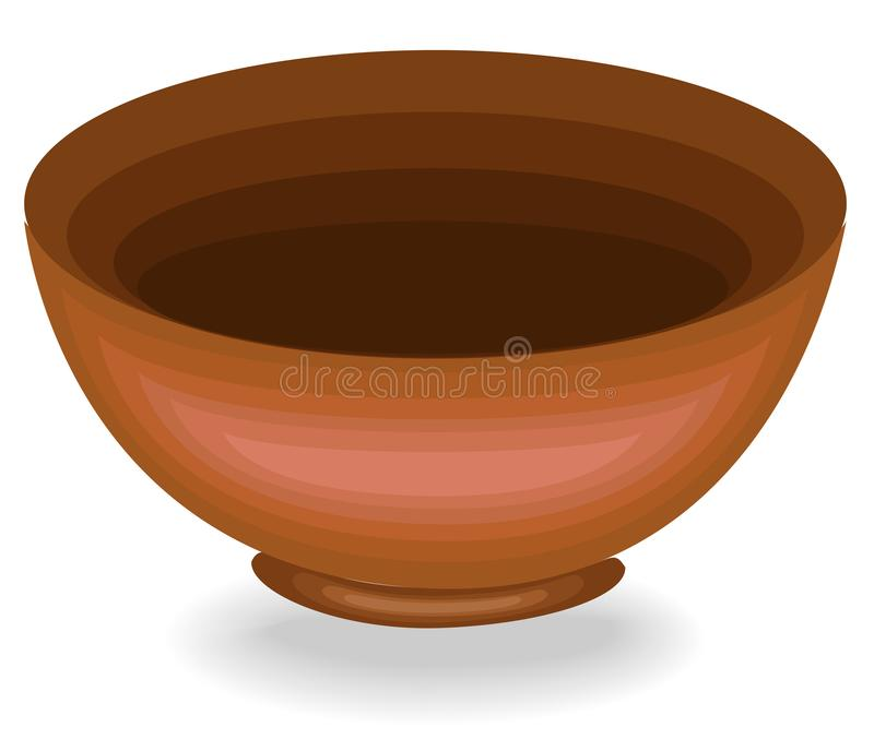 Cookware. A bowl is needed in the kitchen in the kitchen. It is preparing food and pouring lunch. Clay bowl for a healthy diet. vector illustration