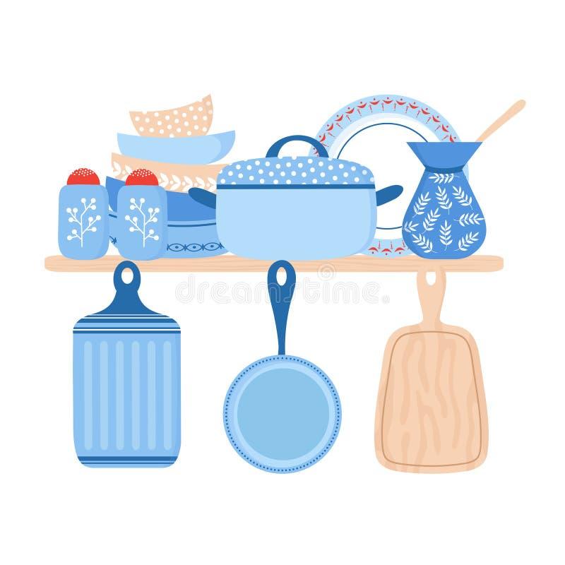 Cookware de cerámica de la loza Ejemplo azul del vector de los platos de porcelana, de las cacerolas y de los cuencos ilustración del vector