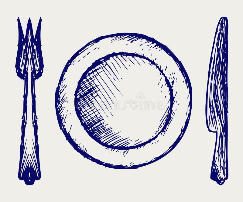 Cookware. De stijl van de krabbel royalty-vrije illustratie