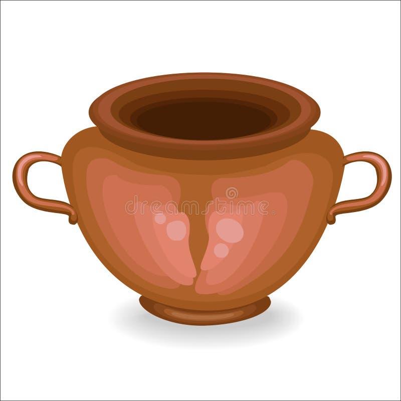 cookware El pote de arcilla es necesario para el hogar en la cocina En él preparan la comida La cerámica es necesaria para una di libre illustration