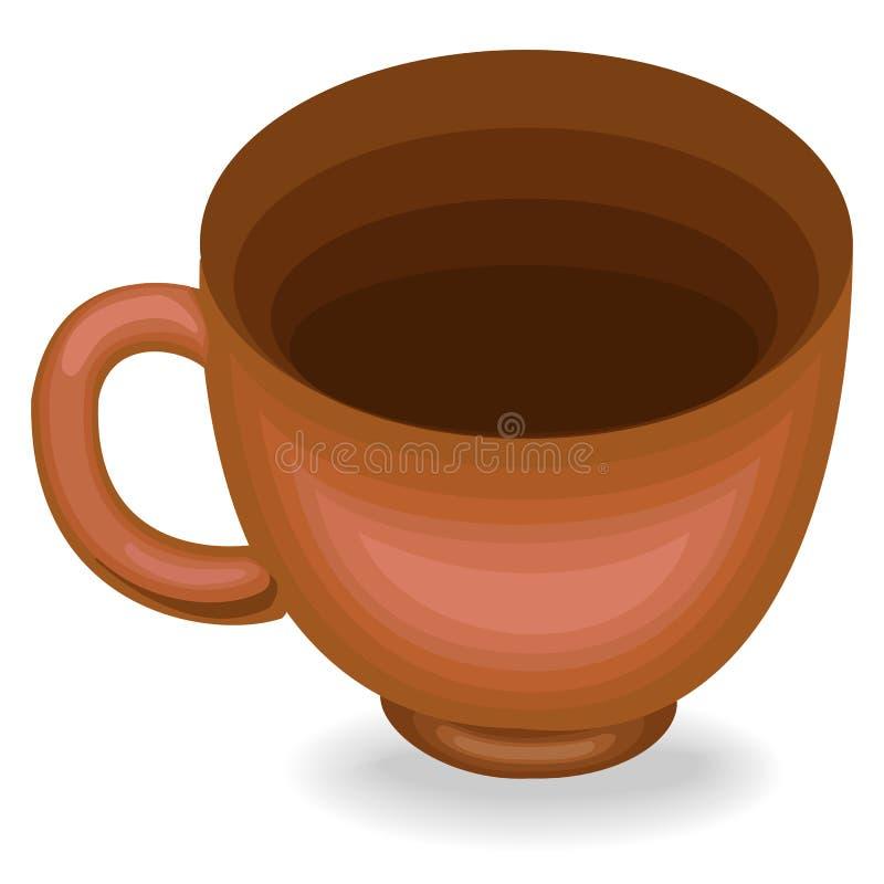 cookware En kopp är nödvändig i köket i köket Från det dricker de te, kaffe, andra drinkar Lerakoppen för ett sunt bantar royaltyfri illustrationer