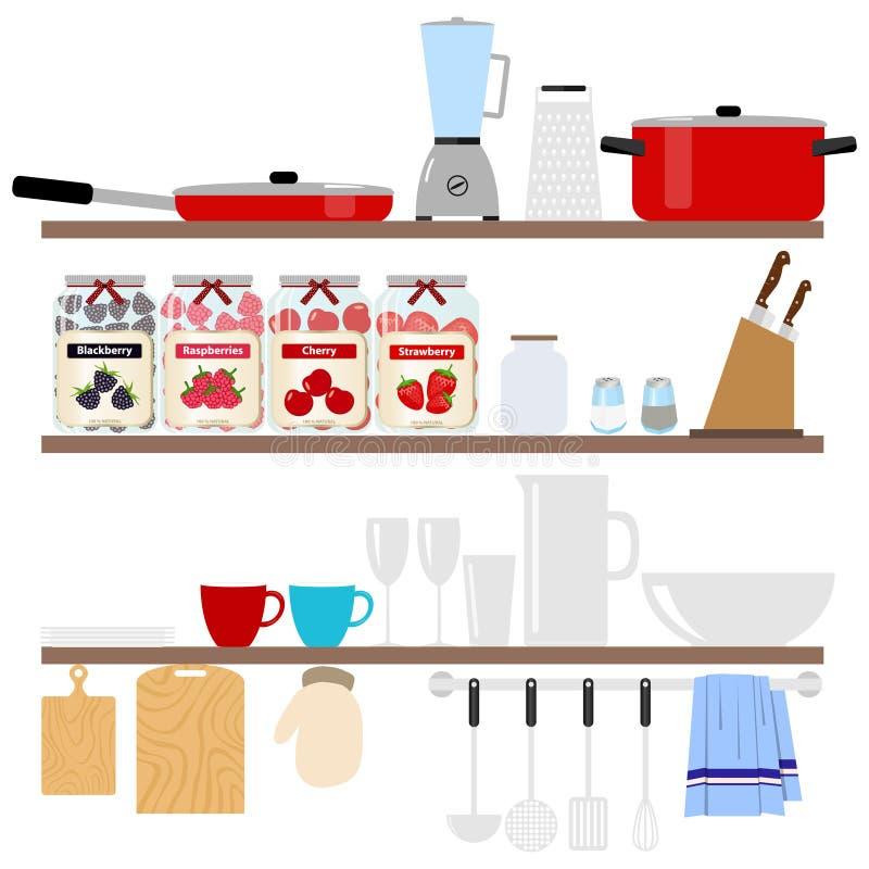 Cookware som förläggas på hyllor En stor uppsättning av kökobjekt royaltyfri illustrationer