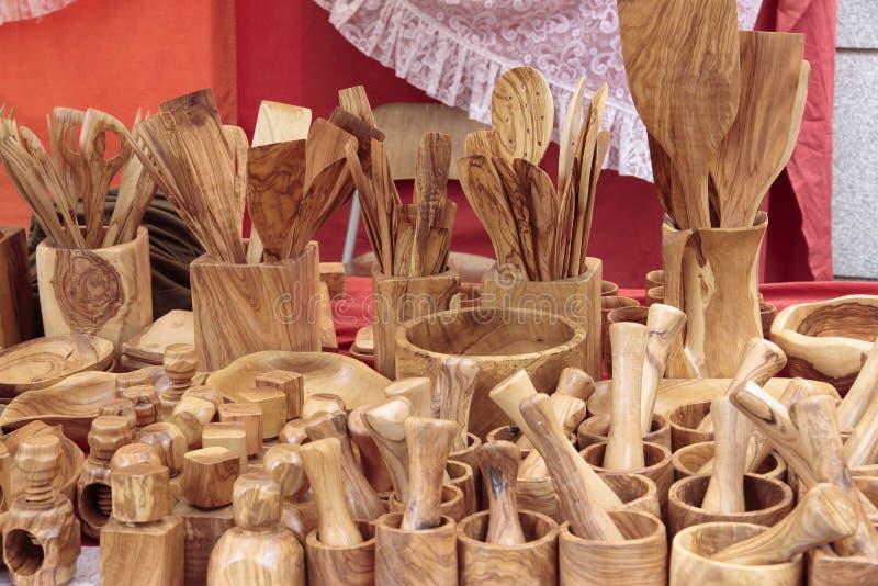 Cookware tallado en madera fotos de archivo libres de regalías