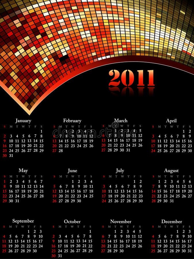 Free Cool 2011 Calendar, Easy To Edit. Stock Images - 15692374