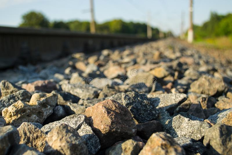 Little stones and a rails stock image