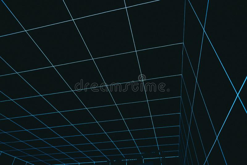 Cool abstract virtual reality space going down background royalty free stock photo