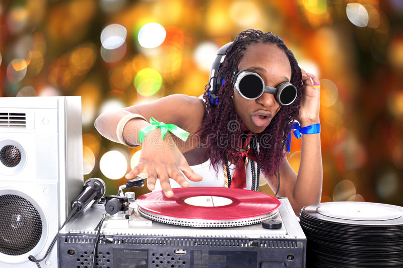 Cool afro american DJ. In action stock images