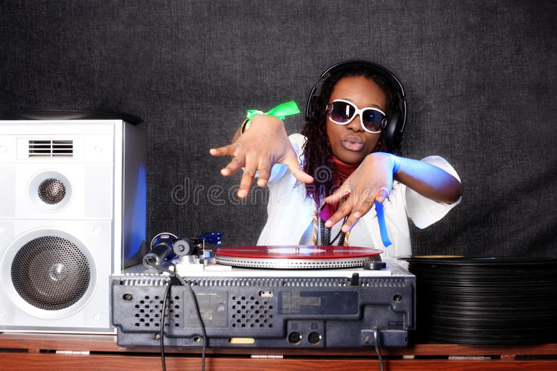 Download Cool afro american DJ stock image. Image of groovy, disk - 16891297