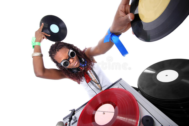 Cool afro american DJ. In action isolated on white royalty free stock photo