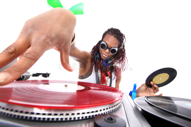 Cool afro american DJ in action. Isolated on white royalty free stock images