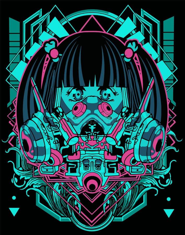 Free Cool Anime Head Transformer Robot Warrior Head Masker Cyberpunk Background For T-shirt Poster Sticker Design Stock Photo - 163893250