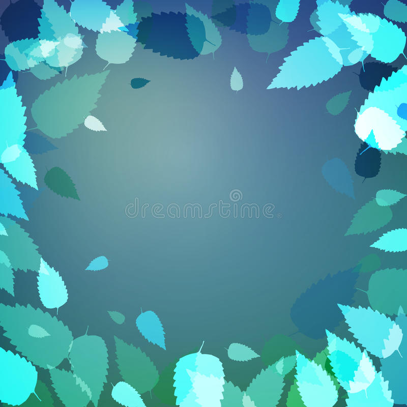 Cool background with blue and green leaves vector illustration