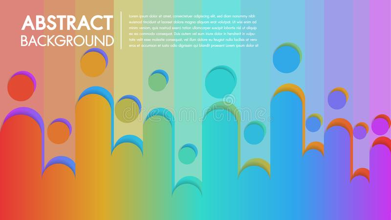 Cool background colorful abstract Poster with flat geometric pattern.Fluid shapes composition with trendy gradients. royalty free illustration