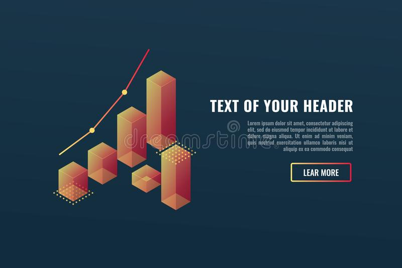 Cool banner with charts, data visualization concept, growing up, business success isometric vector stock illustration