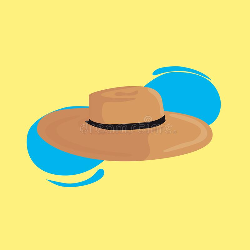 Cool beach hat in the yellow background stock illustration