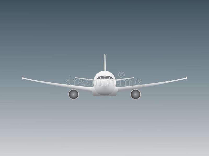 A cool beautiful white jet airplane flying in the sky for airline business industry stock illustration