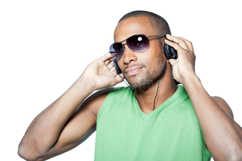 Cool black man with headphones