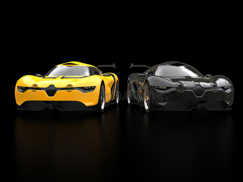Cool Black And Yellow Super Sports Cars Blurry Reflections Stock - Cool yellow cars