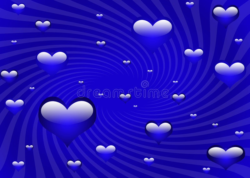 Cool blue hearts. Multiple hearts with swirl background vector illustration