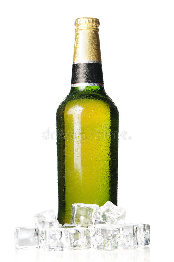 Cool bottle of beer royalty free stock photography