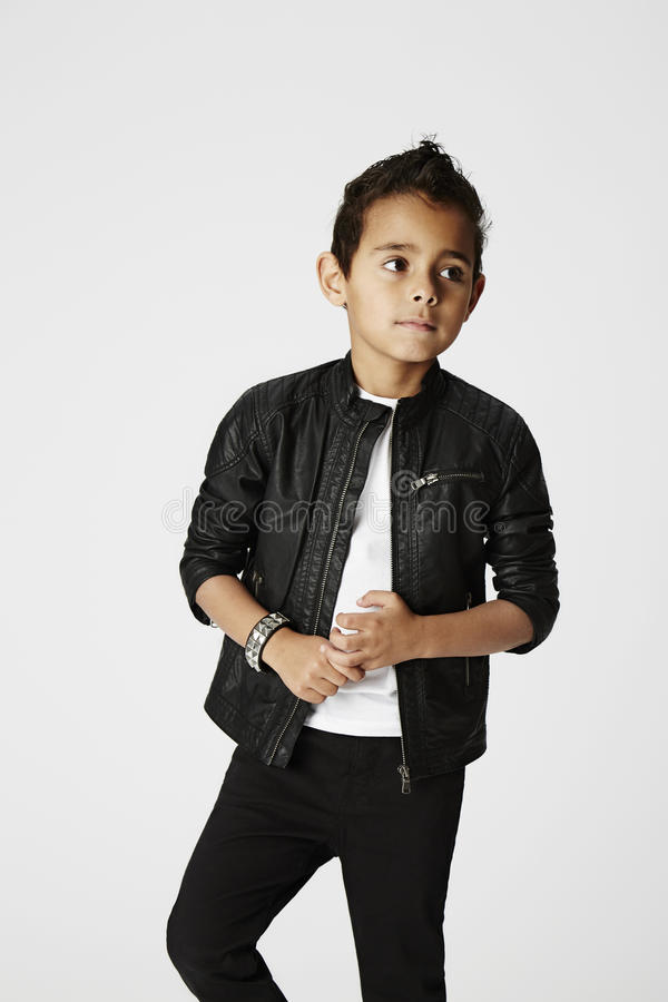 Cool boy in leather jacket stock photo image 50774486 - Cool boys photo ...