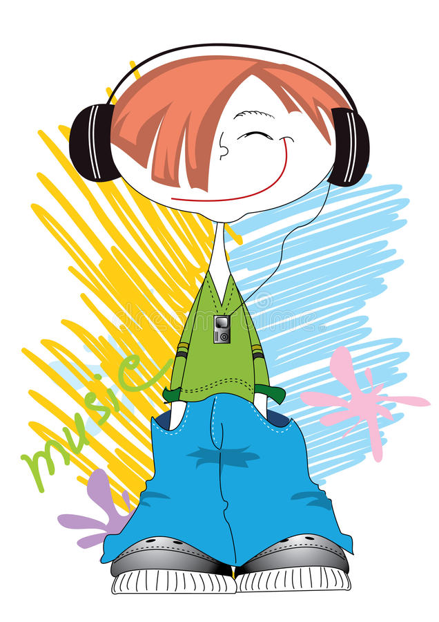 Cool boy and music stock image