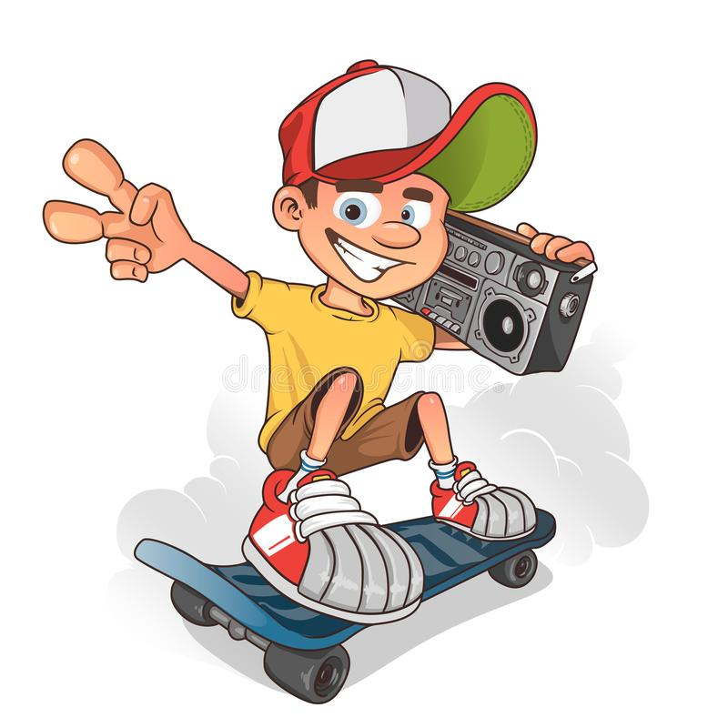 Cool boy skater with ghetto blaster, vector cartoon character stock illustration