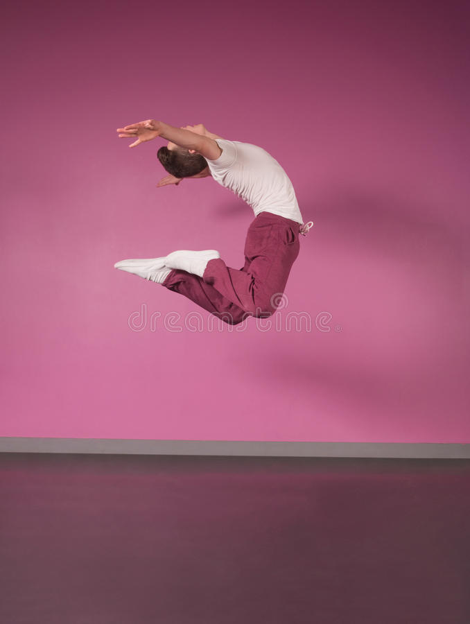 Cool break dancer jumping up royalty free stock photos